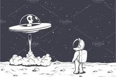 astronaut watches as an alien flies Space Drawings, Alien Drawings, Chica Alien, Astronaut Drawing, Astronaut Wallpaper, Space Illustration, Alien Art, Moon Art, Cartoon Art