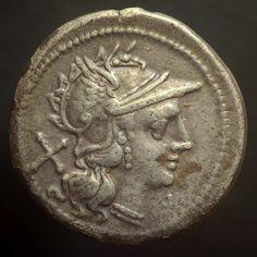 Roman Republic (194-190 BC)  Anon.  AR Denarius  Obv:  Roma r.