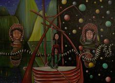"VWL/ASIA/004  (Paris 2013 ""When the Water Snake goes through the Aka Door"")-Acrylic on canvas/Acrylique sur toile/Acrylico sobre tela (100X73cm)"