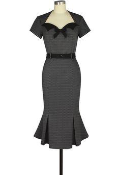 Retro Wiggle Dress In Grey Net Print | Chic Star