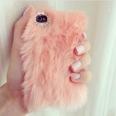 Fluffy pink phone cover # Cute # Stylish