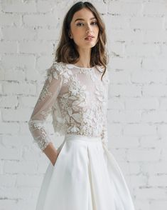 "3,558 Likes, 42 Comments - Melody Nelson (@melodynelsonbridal) on Instagram: ""Luxury bridal lace top with a 3D effect by @jurgitabridal #delicate #chicandsimple #twopiecesdress"""