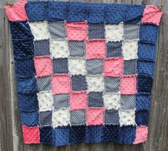 Navy Coral Gray & Gold Rag Quilt/Blanket Perfect by BabyBazerk