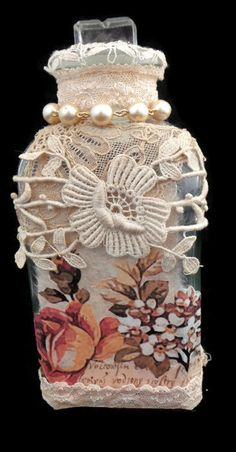 Altered Vintage Medicine Bottle, Wedding Keepsake, Unique Gifts for Women, Rustic Decor for Bathroom, Decorated Bottles for the Home