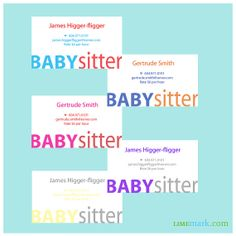Kids Babysitter Business Cards by Limemark on Etsy, $9.50