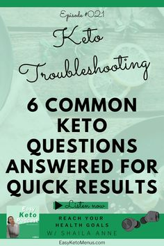 Troubleshooting the ketogenic diet, so that you can see results quickly with Easy Keto Menus. I answer 6 common keto questions that always seems to hold people back from reaching their goals. Make sure you click on the link to figure out how to see results with the keto diet now! Keto Flu Symptoms, Keto Carbs, Lose Weight, Weight Loss, Keto Transformation, Keto Diet For Beginners, Keto Meal Plan, Health Goals, Low Carb Diet