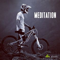 Meditation on the road with a bicycle. Over the mountain the view is perfect to meditate and think about our nature.