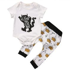 Newborn Baby Boys Girls Monster Print Rompers+Princess Crown Pants New Summer Baby Clothes Baby Boys Clothes Outfits Set 0-24M #Affiliate