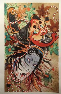 Japanese Tattoo Art, Japanese Tattoo Designs, Japanese Art, Oni Tattoo, Japan Tattoo Design, Architecture Concept Drawings, Japanese Folklore, Japanese Sleeve, Irezumi