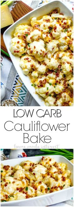 Low Carb Loaded Cauliflower Casserole | This is an easy low carb side dish recipe that make a great keto side dish recipe for Thanksgiving or Christmas! Low Carb Loaded Cauliflower Casserole is full of cheese and bacon and gives you all of the great tastes of a loaded potato dish without all of the carbs!  via @hmiblog