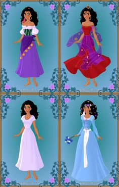 Esmeralda's not my fave character, tho a lot of ppl still like her, & I couldn't leave her out of my Disney Heroines album, so here she is. Esmeralda Costume, Esmeralda Disney, Disney Dresses, Disney Outfits, Disney Fashion, Notre Dame Disney, Gypsy Culture, Azalea Dress Up, Doll Divine