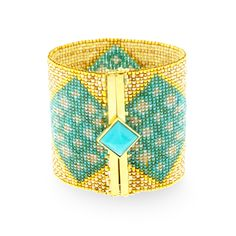18ct Gold and Porcelain Bead and Turquoise Bracelet, Silvia Furmanovich