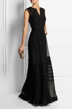 Black silk-chiffon Embroidery, lace panels, pleated skirt, satin hem, removable slip to line Concealed snap fastenings along side silk Dry clean Fashion 101, Couture Fashion, High Fashion, Lovely Dresses, Beautiful Outfits, Chiffon Gown, Alberta Ferretti, Dream Dress, Evening Gowns