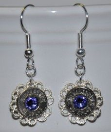Ammo Earrings-38SPL+P with Tanzanite Swarovski Crystal$20 - Rustic Passion Jewelry & Crafts
