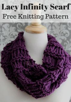 Free easy beginner knitting pattern for a chunky knit grey lacy infinity scarf free knitting pattern dt1010fo