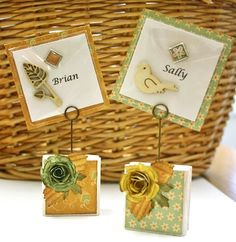 Name Cards for table decor by Christine Emberson for @SBAdhesivesby3L Blog, with #tutorial using Keepsake Envelopes! Also w/ #Spellbinders #CosmoCricket #wedding #party #tabletop #placecards https://www.scrapbook-adhesives.com/blog/2014/09/02/keepsake-place-markers/