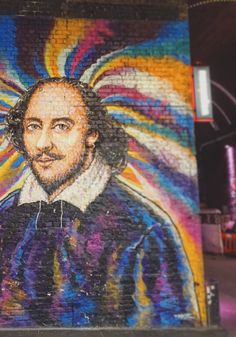 Street Artist Jimmy C's portrait of Shakespeare, a short walk from The Globe Theatre. Real name James Cochran, he was influenced by Aboriginal Art from his native Australia, the original folk technique that uses dots of pure colour. But Jimmy updates the method using spray cans in a technique he calls drip paintings.