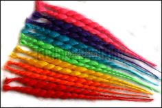 Single ended dread extensions - rainbow dreads - set of 14 - red, orange, yellow, green, blue, pink, purple
