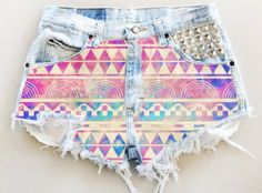 shorts purple High waisted shorts tribal pattern hipster spikes cut offs neon…