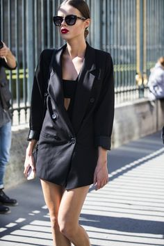 Spotted on day 2 of LFW - Blazers that become dresses, reminds us of 80s pop videos in a good way. #NewLookStyle #PFW #streetstyle