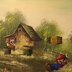 Artist Inserts Pop Culture Characters Into Thrift Store Paintings