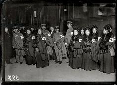 Japanese ambulance drivers, 1914 (b/w photo)