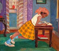 Young girl reading by Palmer Hayden (originally called Peyton Cole Hedgeman) born January 1890 in Widewater (Virginia), USA died February 1973 in New York, USA Reading Art, Woman Reading, Children Reading, African American Artist, American Artists, Illustrations, Illustration Art, Harlem Renaissance Artists, Reading Nooks