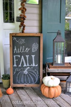 Autumn Chalkboard on front porch