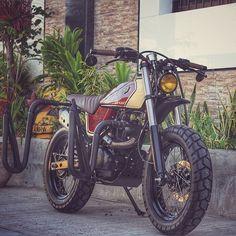 "On BikeBound.com: Honda XR125 ""Surf Tracker"" by @jfkustoms. Link in Profile #xr125 #xr125l #tracker #scrambler"