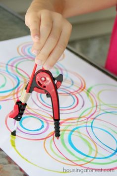 Compass Painting A compass isnt just for math. Use it to paint! Your kids will love filling the paper with colorful concentric circles. The post Compass Painting was featured on Fun Family Crafts. Projects For Kids, Art Projects, Crafts For Kids, Arts And Crafts, Family Crafts, Math Crafts, Fun Crafts, Middle School Art, Art School