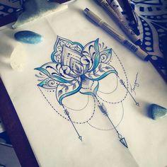 Pureza e resiliência  #essajatemdona #lotus #flecha #tattoo #tattoodesign #taizane #ornamentaltattoo