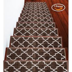 """Shop SUSSEXHOME Trellisville Collection Stair Treads Polypropylene 9""""x28"""" - On Sale - Overstock - 31045220 - Brown - 13-PACK Carpet Stair Treads, Carpet Stairs, Stair Tread Rugs, Stair Mats, Packing Light, Animals For Kids, Online Home Decor Stores, Animal Print Rug, Modern Contemporary"""