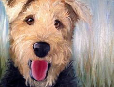 Mary Sparrow Smith from Hanging the Moon Studio Airedale welsh terrier painting
