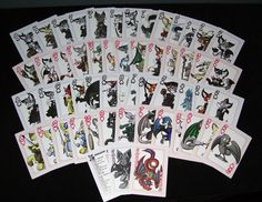 Virmir-Cards is a standard deck of playing cards featuring a cartoon character drawn by Virmir on every single card! This deck is built just like any playing card deck— four suits of 13 cards each, plus two jokers. 54 cards total! Also included is a cast card listing the names of all the characters. Card Deck, Deck Of Cards, A Cartoon, Cartoon Characters, Custom Playing Cards, Jokers, Character Drawing, It Cast, Names