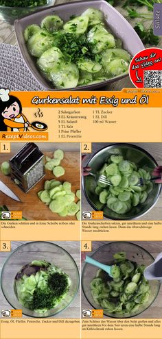 Gurkensalat mit Essig und Öl Rezept mit Video – Salat Rezepte mit Video The cucumber salad with vinegar and oil is a classic salad with great popularity. You can easily find the cucumber salad with vinegar and oil recipe video using the QR code :] salad Salad Recipes Healthy Lunch, Salad Recipes For Dinner, Chicken Salad Recipes, Healthy Lunches, Avocado Salat, Cucumber Salad, Vinegar And Oil Recipe, Fresh Vegetables, Fruits And Veggies