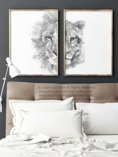 Lion Lioness Zodiac Drawing Black White Illustration Animal Art Print Africa Animals Nursery Kids Room Decor, Bedroom Poster set 2 HIM HER is part of - ColorWatercolor Bedroom Posters, Room Decor Bedroom, Kids Bedroom, Kids Room Art, Kids Room Design, Kids Rooms, Lion And Lioness Tattoo, Desenio Posters, Christmas Wall Art
