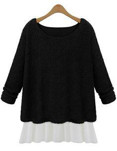 Black Long Sleeve Knit Contrast Chiffon Dress US$29.33