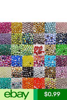 DMC Hotfix Iron-On Rhinestones Crystal FlatBack Seed Bead Much Colors and Sizes