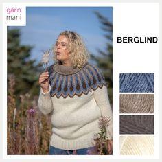 BERGLIND genser - Garnmani.no - Spesialist på islandsk garn Turtle Neck, Sweaters, Inspiration, Design, Fashion, Threading, Model, Biblical Inspiration, Moda