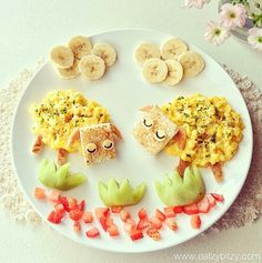 Brunch Boom and Refreshment : 30 Ideas for Easy Healthy Brunch Food Cute Snacks, Cute Food, Good Food, Toddler Meals, Kids Meals, Brunch Recipes, Baby Food Recipes, Food Art For Kids, Food Kids