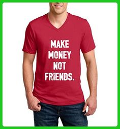 Ugo Make Money Not Friends Christmas Birthday Party Humor Gift Match w Hats Bags Ringspun Men V-Neck T-Shirt - Holiday and seasonal shirts (*Amazon Partner-Link)