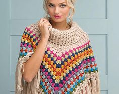 Cowl-neck Poncho Granny Squares Rainbow Color Crochet Pattern - PDF