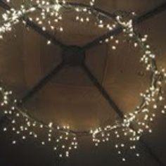 Lights on outdoor umbrella