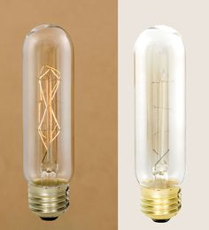 """Edison base incandescent bulb fits any standard lamp socket. Measures 1"""" diameter and 5"""" tall including the brass shell.   Features slightly amber glass and a diamond shaped filament."""