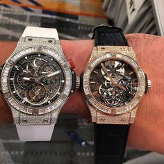 Our friends over at @ECJLuxe are having a tad bit of trouble deciding which skeleton tourbillon to choose  Which do you prefer? The @Hublot - Big Bang or the Classic Fusion?  #TourbillonTuesday #Tourbillon #Hublot #Diamonds #Swiss #Horology #Luxury #Watches #DidWeMentionWeLoveTuesdays by tourbillontuesday