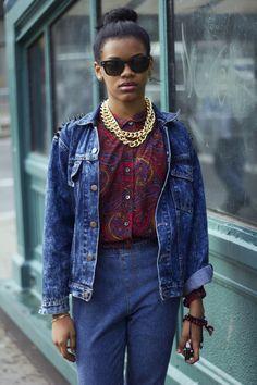 Denim on denim, statement necklace, paisley top