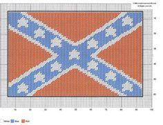 Rebel flag Plastic Canvas Tissue Boxes, Plastic Canvas Crafts, Plastic Canvas Patterns, Needlepoint Patterns, Cross Stitch Patterns, Just Cross Stitch, Confederate Flag, Canvas Designs, Canvas Ideas