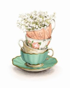 Vintage teacups with baby's breath Watercolour Illustration by Alicia's Infinity. Art And Illustration, Watercolor Illustration, Watercolor Paintings, Girl Illustrations, Watercolor Food, Oil Paintings, Tea Cup Art, Tea Cups, Tee Kunst