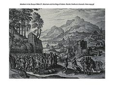 Oliver Medhurst presents Abraham in the Bowyer Bible 27 Abraham and the King of Sodom Borcht on Flickr. A print from the Bowyer Bible, a grangerised copy of Macklin's Bible in Bolton Museum and Archives, England.