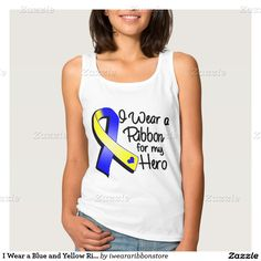 I Wear a Blue and Yellow Ribbon For My Hero Basic Tank Top